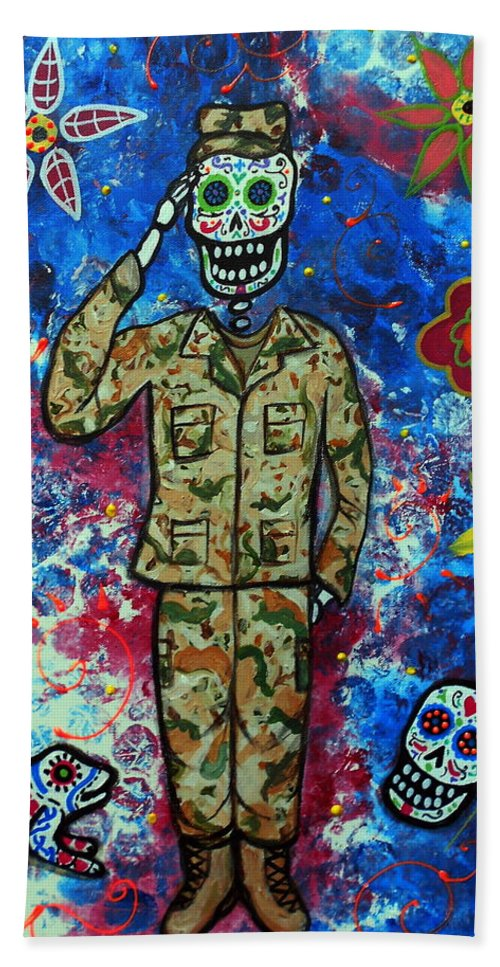 Air Beach Towel featuring the painting Air Force Day Of The Dead by Pristine Cartera Turkus