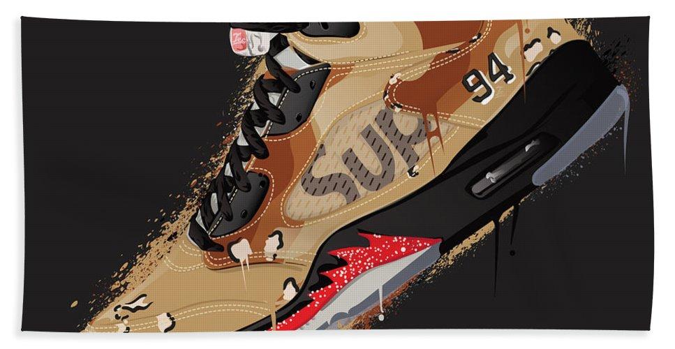 best sneakers ba236 ab82f Vector Beach Towel featuring the digital art Air Jordan 5 Retro Supreme  Desert Camo by Tec