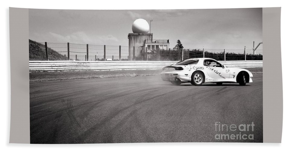 Car Beach Towel featuring the photograph Airfield Drifting by Andy Smy