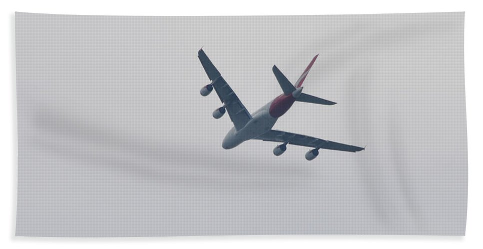 Airliner Turning Prints Beach Towel featuring the photograph Airliner Turning by Ruth Housley