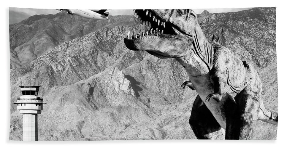 Dinosaur Beach Towel featuring the photograph Airplane Food Black And White by William Dey