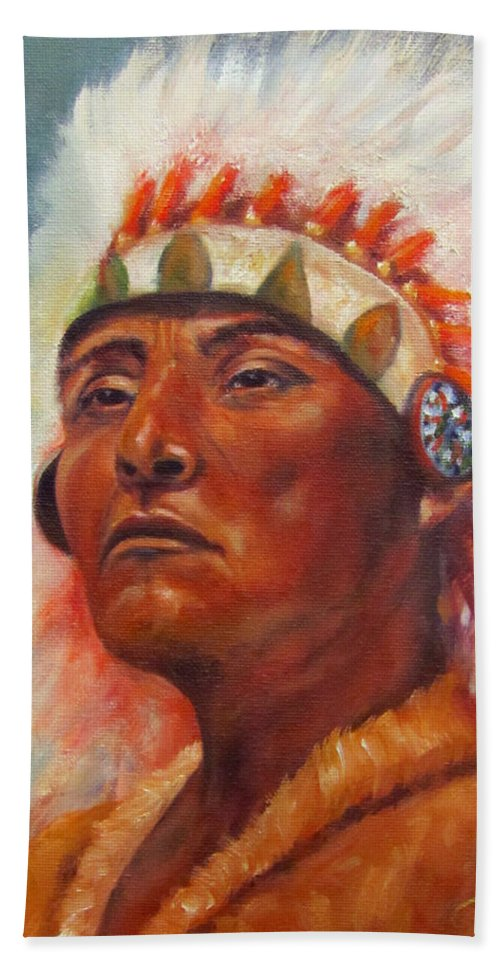 Native American Indian Beach Towel featuring the painting Akecheta, Native American by Sandra Reeves