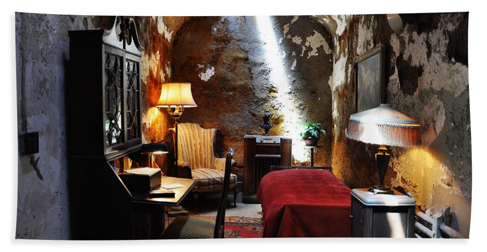 Al Capone's Cell - Eastern State Penitentiary Beach Towel featuring the photograph Al Capone's Cell - Eastern State Penitentiary by Bill Cannon