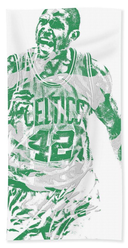 Al Horford Beach Towel featuring the mixed media Al Horford Boston Celtics Pixel Art 7 by Joe Hamilton
