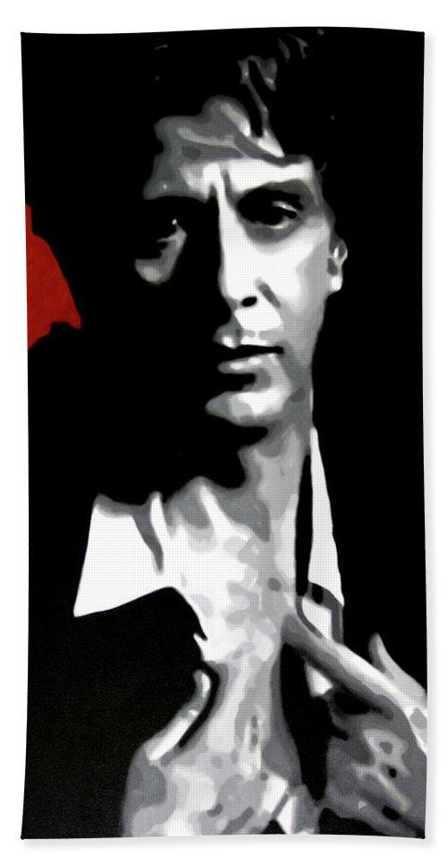 Hood Beach Towel featuring the painting Al Pacino by Hood alias Ludzska