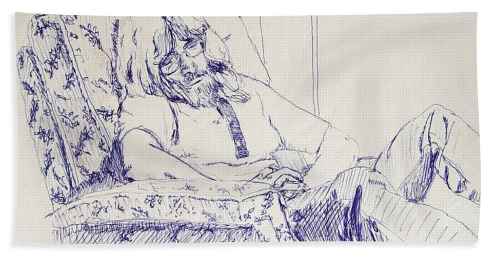 Portrait Beach Sheet featuring the drawing Al-studying by Ron Bissett