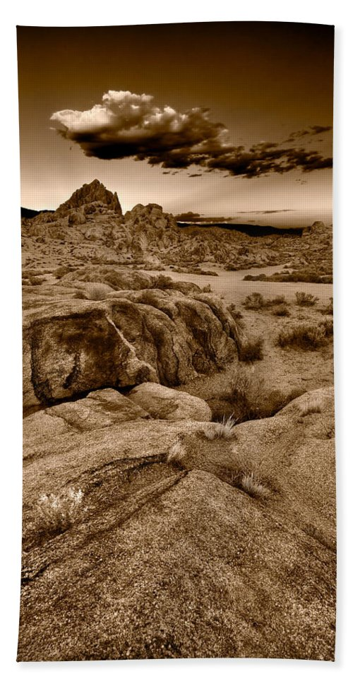 Alabama Beach Towel featuring the photograph Alabama Hills California B W by Steve Gadomski