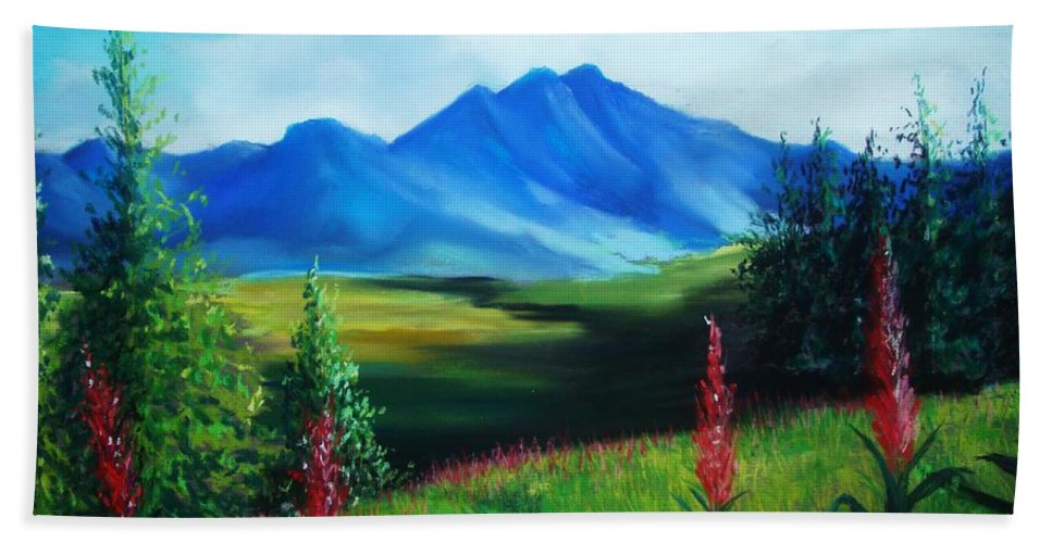 Alaska Beach Towel featuring the pastel Alaska by Melinda Etzold