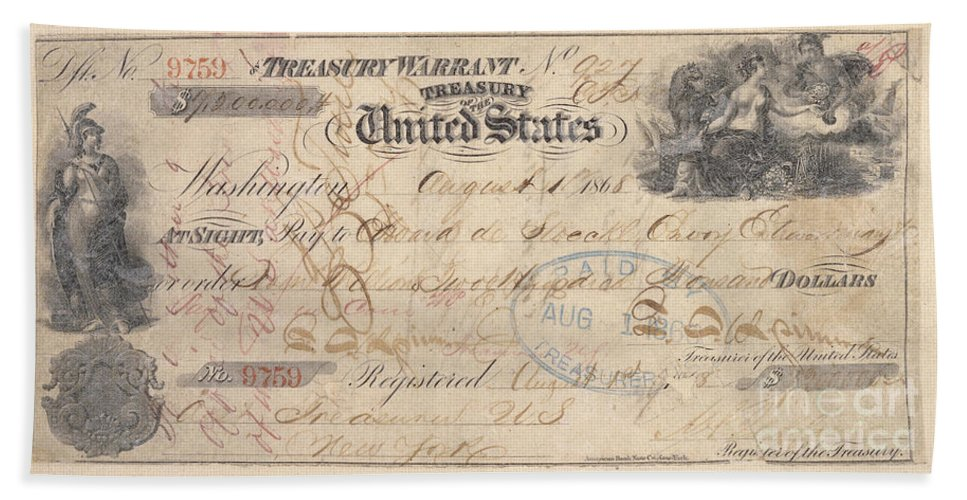 1867 Beach Towel featuring the photograph Alaska Purchase: Check by Granger