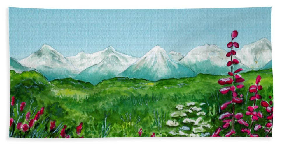 Landscape Beach Towel featuring the painting Alaska Splendor by Brenda Owen
