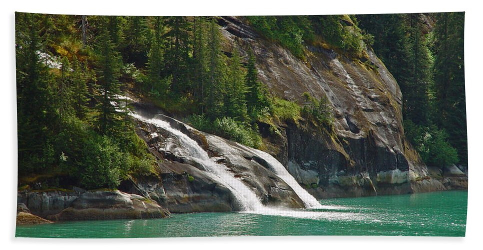 Waterfall Beach Towel featuring the photograph Alaska Tracy Arm by Heather Coen