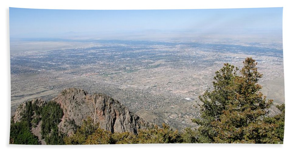 Albuquerque Beach Towel featuring the photograph Albuquerque And The Rio Grande by David Lee Thompson