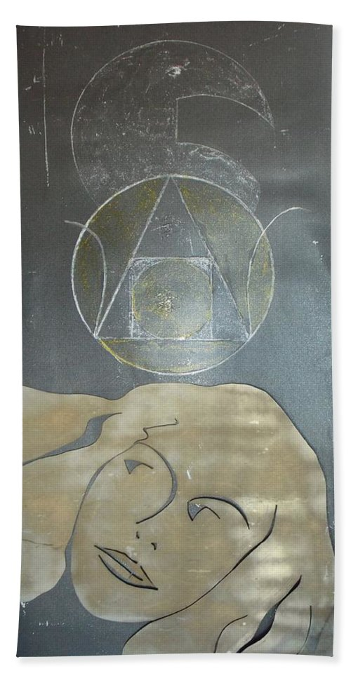 The Face Of A Woman Cut From Aluminium Overlayed On An Aluminium Plate. Beach Towel featuring the painting Alchemy's Golden Girl by Thomas Dudas