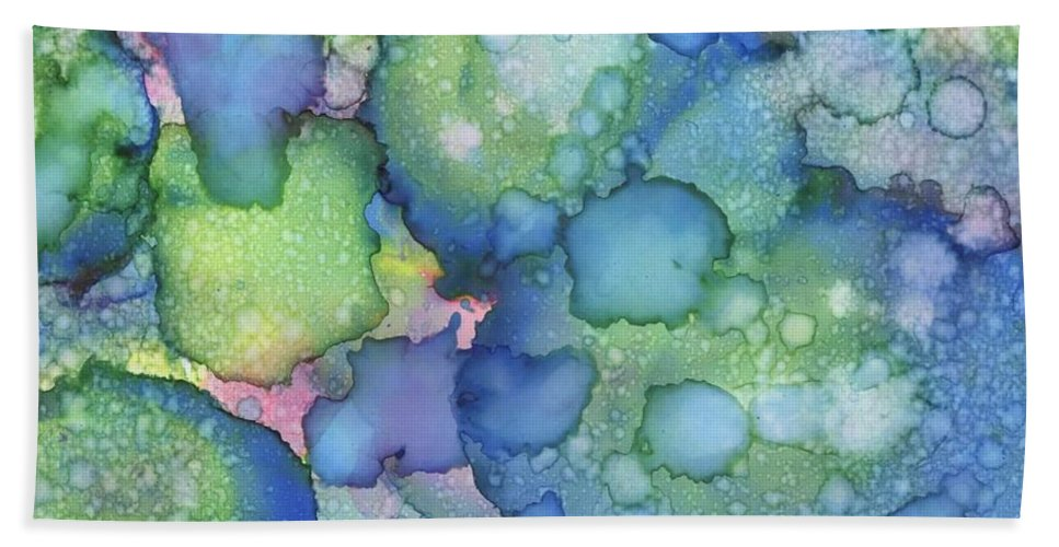 Abstract Beach Towel featuring the painting Alcohol Ink #2 by Wayne Gordon