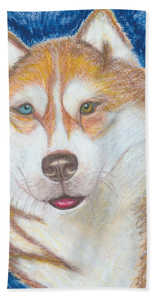 Drawing Beach Towel featuring the drawing Alek The Siberian Husky by Ania M Milo