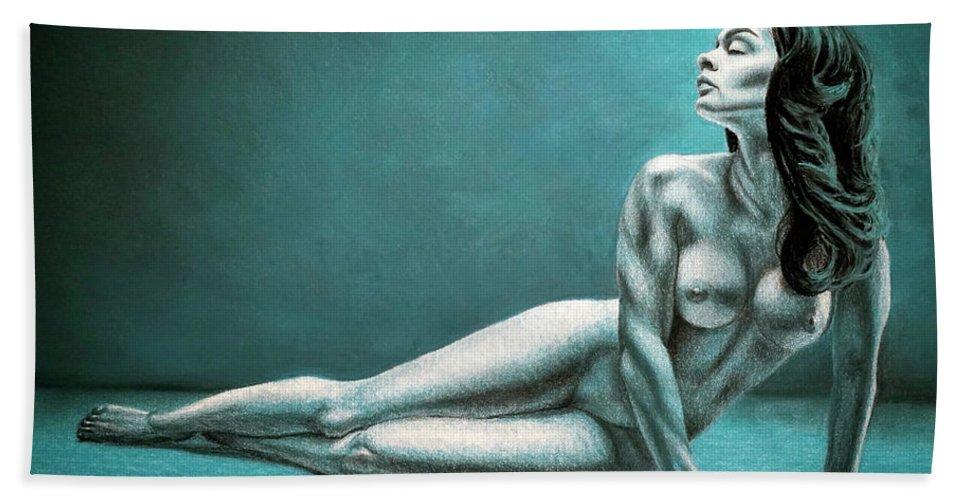 Joe Ogle Beach Towel featuring the pastel Alexandra by Joseph Ogle