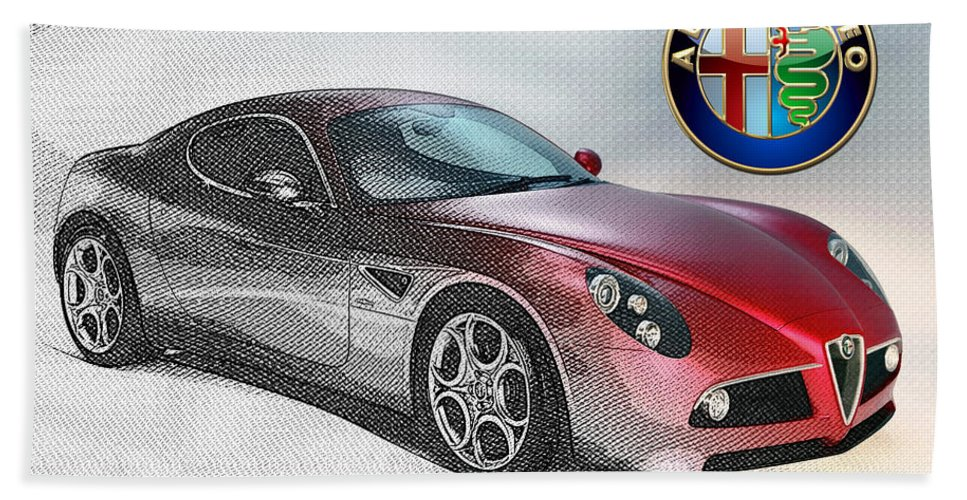 Wheels Of Fortune By Serge Averbukh Beach Towel featuring the photograph Alfa Romeo 8C Competizione by Serge Averbukh