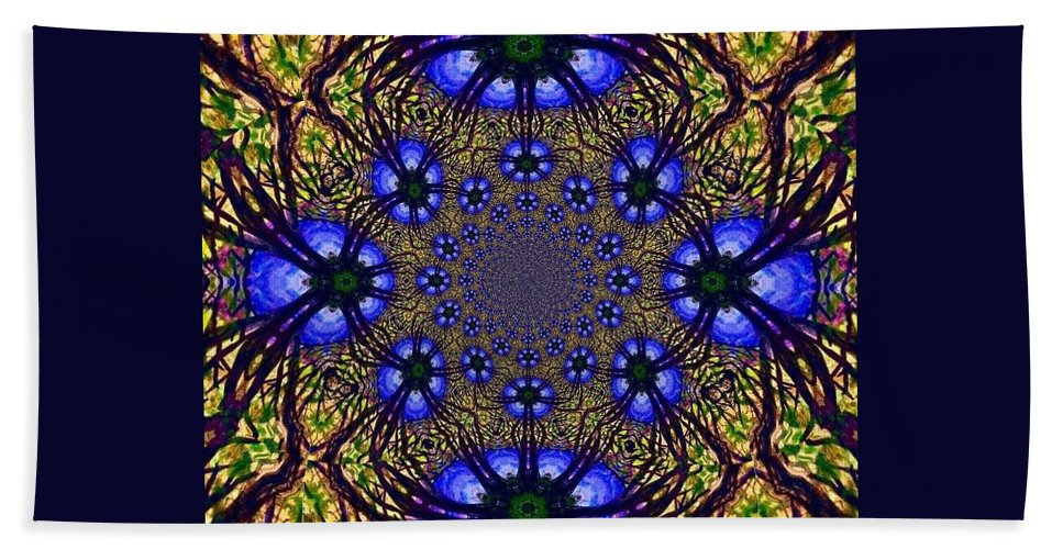 Blue And Yellow Beach Towel featuring the digital art Blue Abstract by Anne Sands