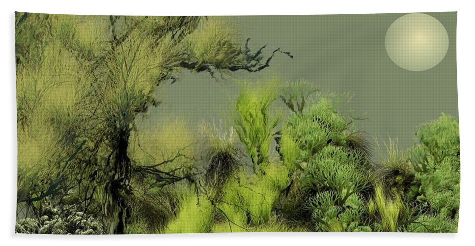 Digital Fantasy Painting Beach Sheet featuring the digital art Alien Garden 2 by David Lane