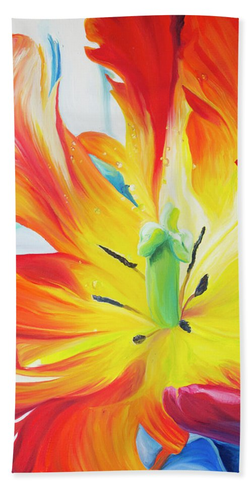 Tulip Beach Towel featuring the painting Alive by Karen Hurst
