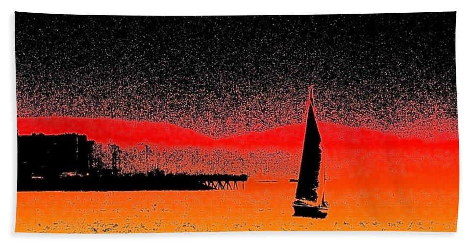 Seattle Beach Towel featuring the photograph Alki Sail by Tim Allen