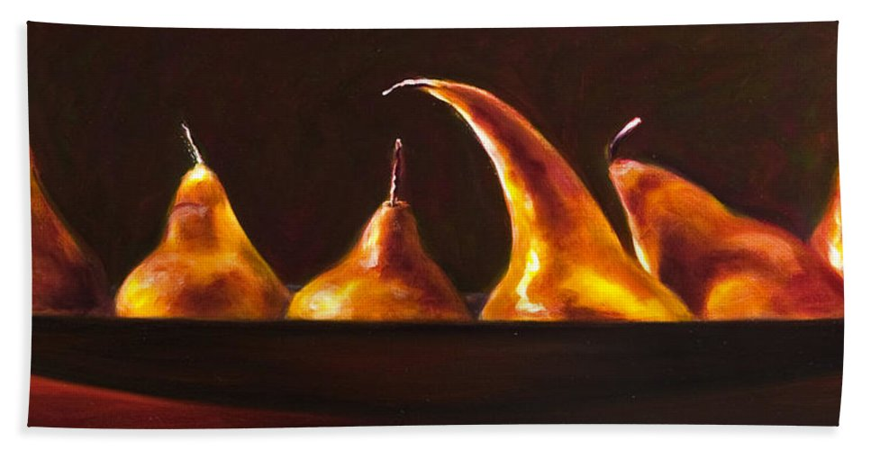 Pears Beach Sheet featuring the painting All Aboard by Shannon Grissom