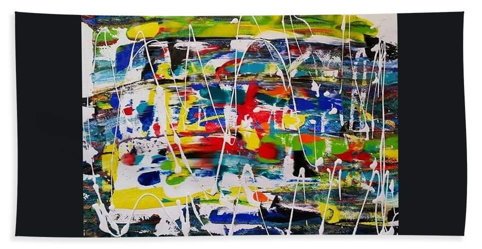 Abstract Beach Towel featuring the painting All In One by Rosa Lopez