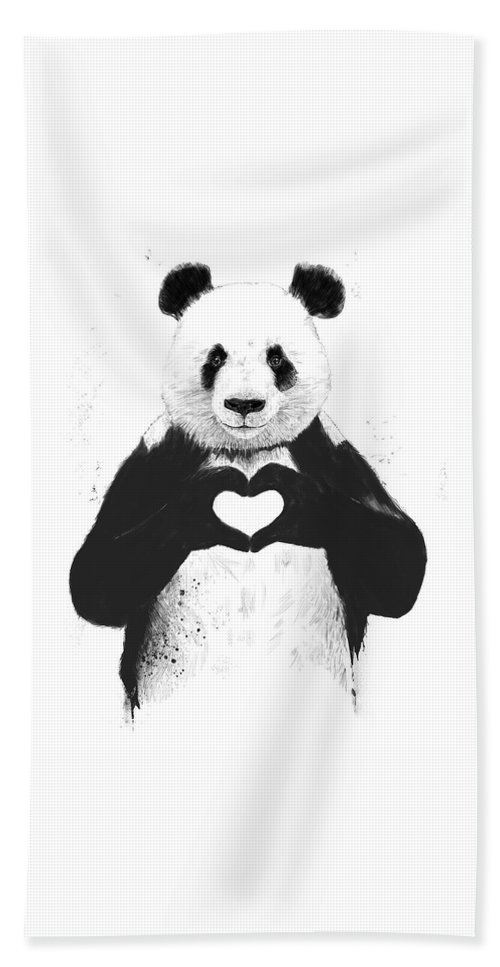 Panda Beach Towel featuring the painting All you need is love by Balazs Solti