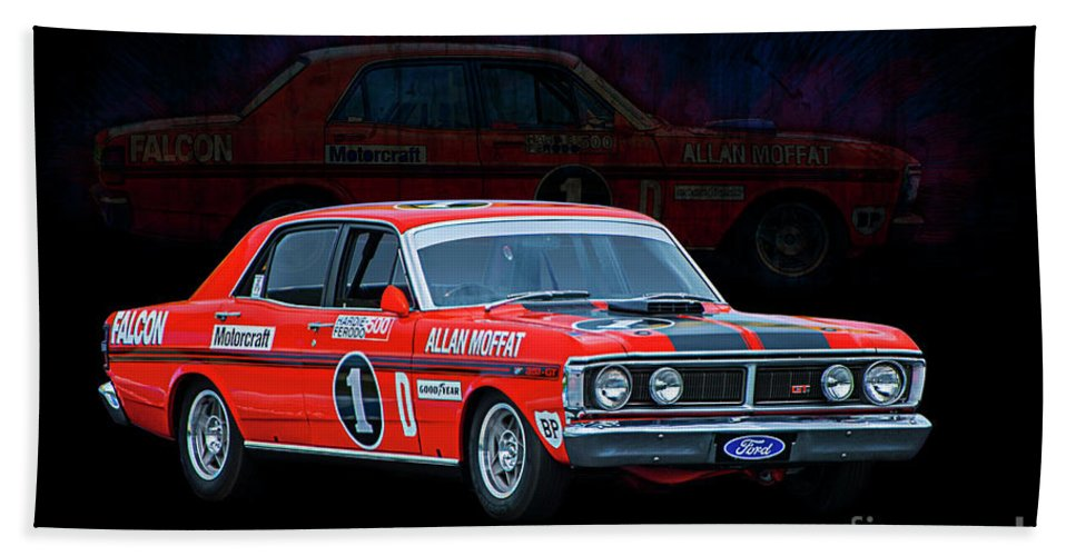 Ford Beach Towel Featuring The Photograph Allan Moffat Ford Falcon Xy Gtho Phase Iii By Stuart