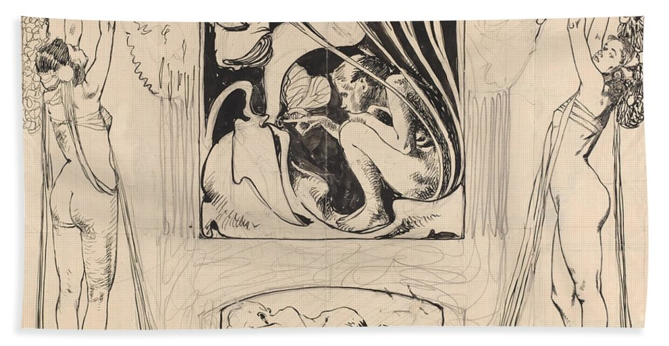 Beach Towel featuring the drawing Allegory Of Summer by Koloman Moser