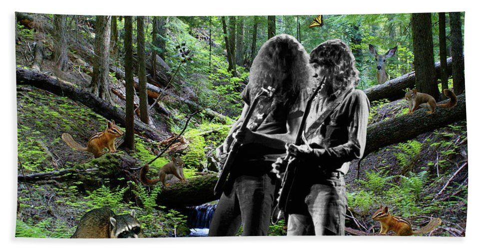 Allen Collins Beach Towel featuring the photograph Allen And Steve Jam With Friends On Mt. Spokane by Ben Upham