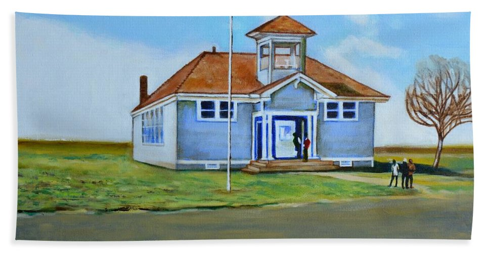 Buildings; School; Landscape; African American Community; Historical State Park; Beach Towel featuring the painting Allensworth School by Howard Stroman