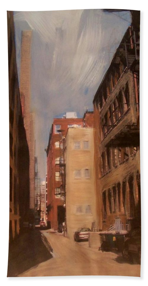 Alley Beach Towel featuring the mixed media Alley Series 1 by Anita Burgermeister