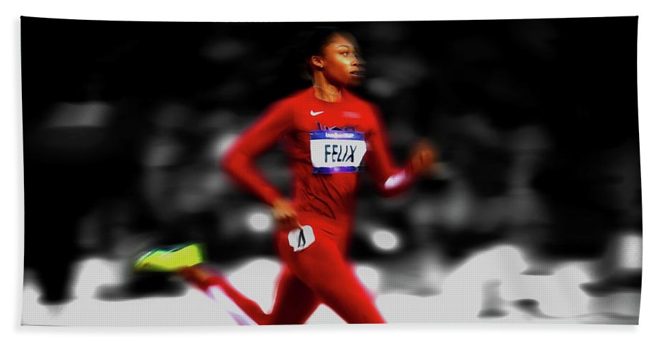 Allyson Felix Beach Towel featuring the mixed media Allyson Felix Ahead Of The Pack by Brian Reaves