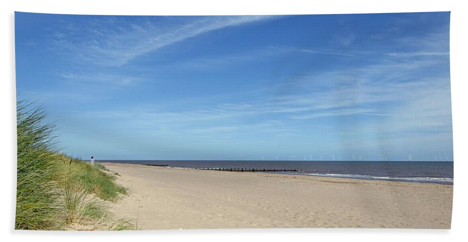 Skegness Beach Towel featuring the photograph Almost Deserted Beach At Skegness by Rod Johnson