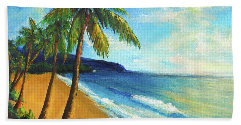 Beach Beach Towel featuring the painting Aloha by Hanako Hawaii