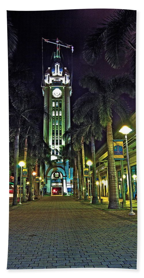 Aloha Beach Towel featuring the photograph Aloha Towers by Michael Peychich