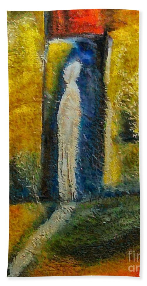Mixed Media Beach Towel featuring the mixed media Alone by Dragica Micki Fortuna
