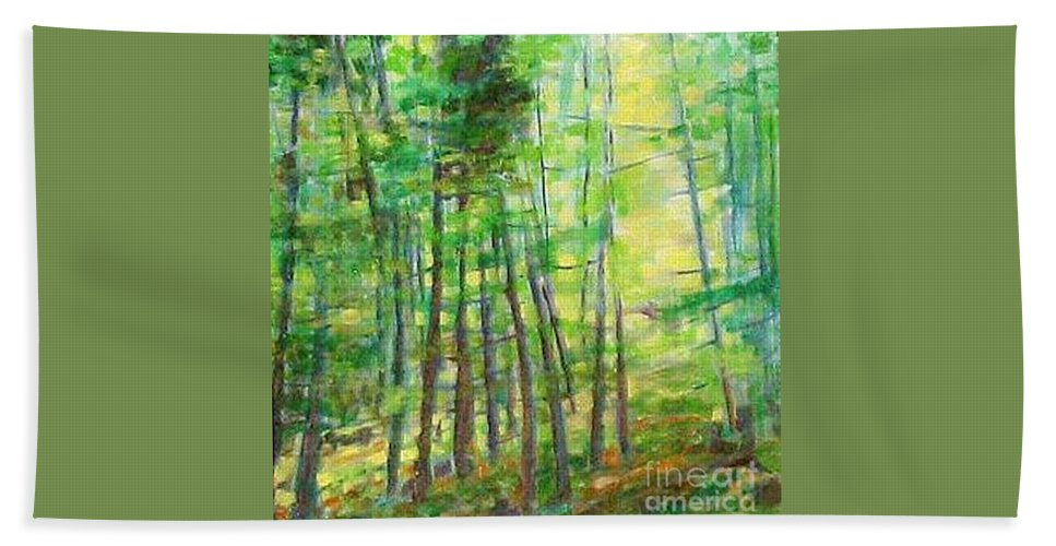 Landscape Beach Towel featuring the painting Along Buckslide Road by Karen Sloan