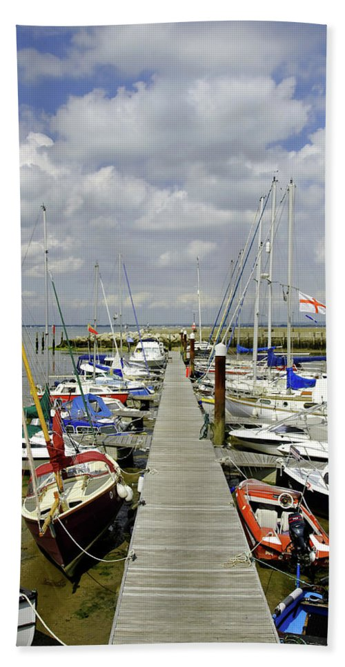 Ryde Beach Towel featuring the photograph Along C Pontoon In Ryde Harbour by Rod Johnson