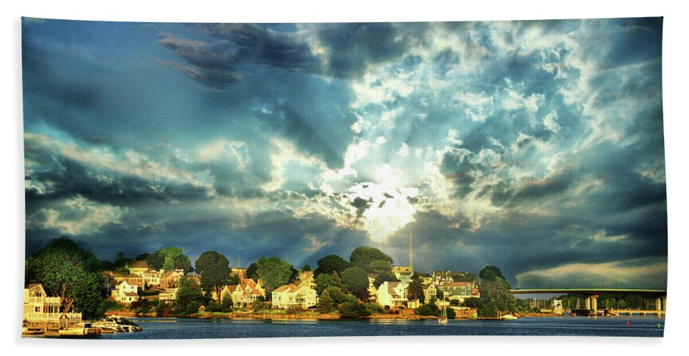New England Beach Towel featuring the digital art Along The North Shore - Ma by Lilia D