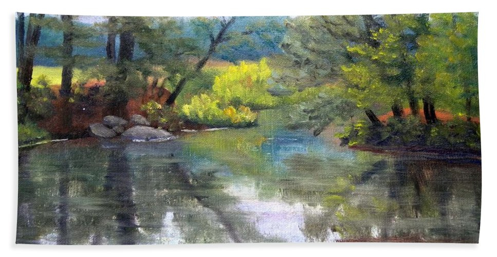 Reflections Beach Towel featuring the painting Along the Exeter River by Sharon E Allen