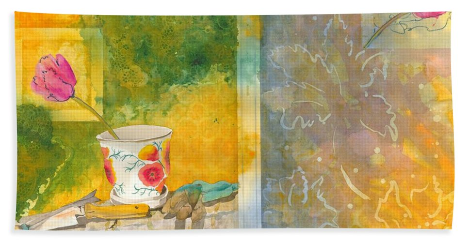 Garden Beach Towel featuring the painting Along The Garden Wall by Jean Blackmer