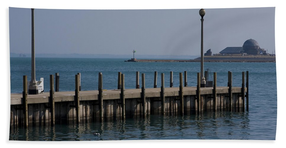 Chicago Windy City Lake Michigan Pier Water Sky Blue Beach Towel featuring the photograph Along The Lakeshore by Andrei Shliakhau