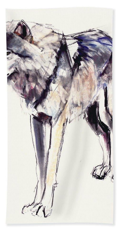 Wolf Beach Towel featuring the painting Alpha by Mark Adlington