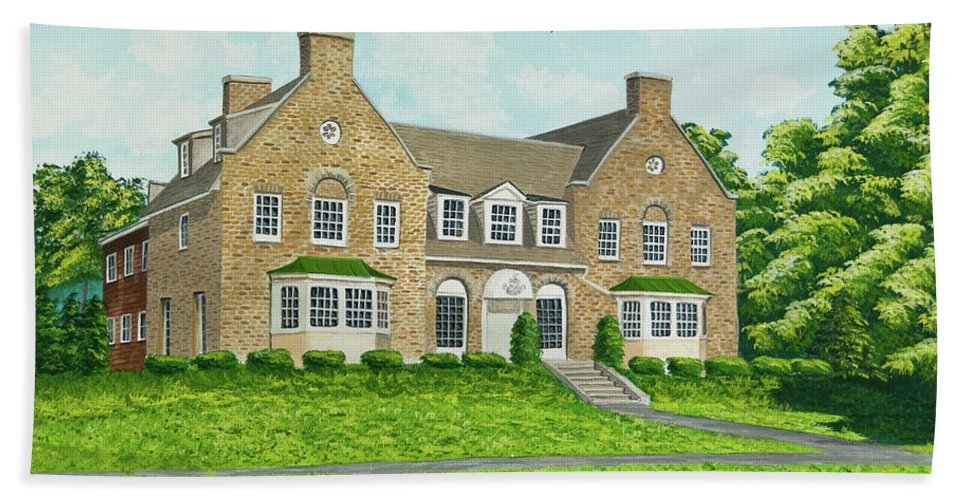 Colgate University Fraternity House Beach Towel featuring the painting Alpha Tau Omega by Charlotte Blanchard