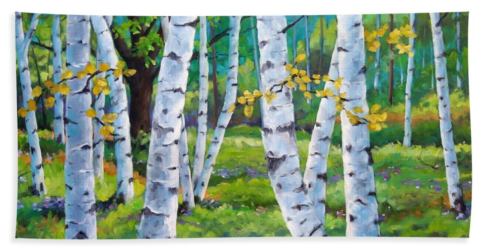 Birche; Birches; Tree; Trees; Nature; Landscape; Landscapes Scenic; Richard T. Pranke; Canadian Artist Painter Beach Sheet featuring the painting Alpine Flowers And Birches by Richard T Pranke