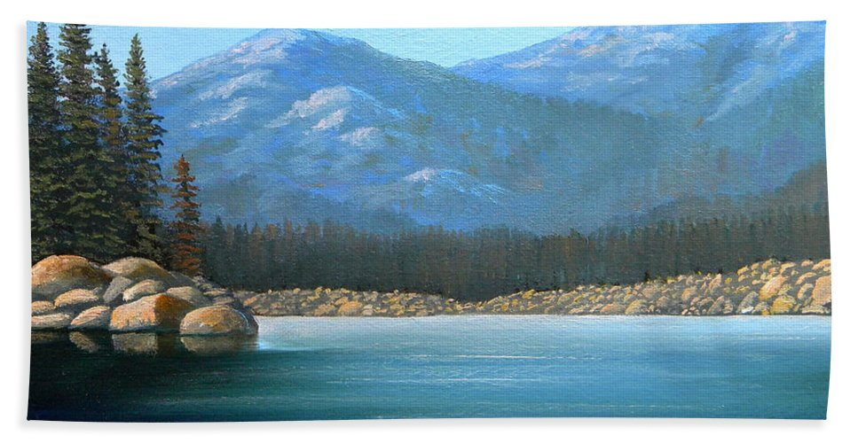 Landscape Beach Towel featuring the painting Alpine Lake by Frank Wilson