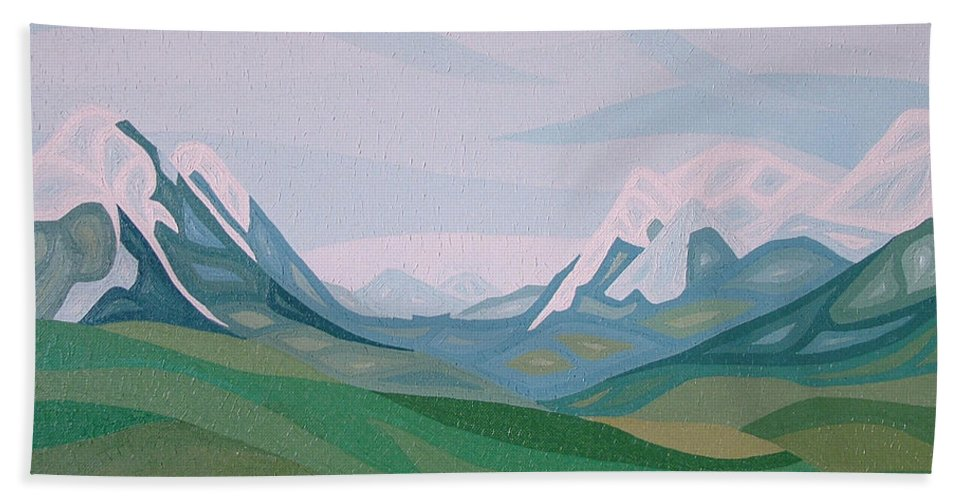 Oil Beach Towel featuring the painting Alps 2 by Peter Antos