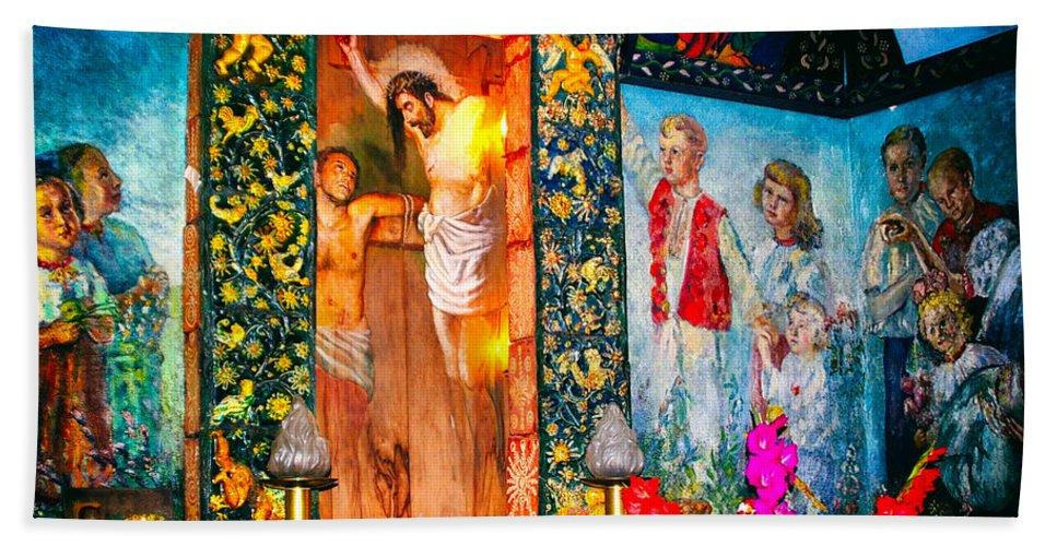 Mural Beach Towel featuring the photograph Altar Painted By Famous John Walach by Mariola Bitner